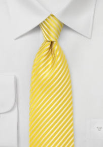 Extra Long Striped Tie in Bright Yellow