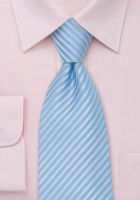 Elegant Striped Tie in Powder Blue
