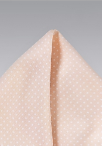 Blush Pink and White Pin Dot Pocket Square