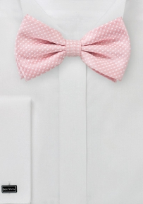 Soft Pink Men's Bow Tie with White Pin Dots
