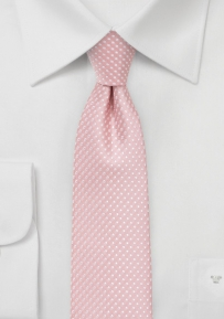 Soft Pink Pin Dot Tie in Narrow Width
