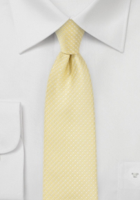 Narrow Pin Dot Tie in Soft Yellow
