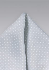 Formal Silver and White Pin Dot Pocket Square