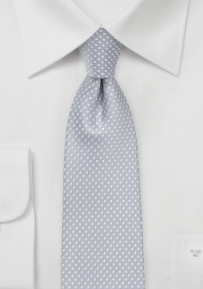 Narrow Pin Dot Tie in Soft Gray