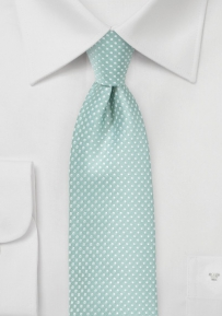 Narrow Pin Dot Tie in Soft Mint Green