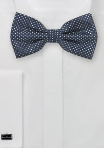 Midnight Blue Bow Tie with Silver Pin Dots