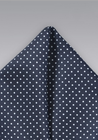 Midnight Blue Pocket Square with White Dots
