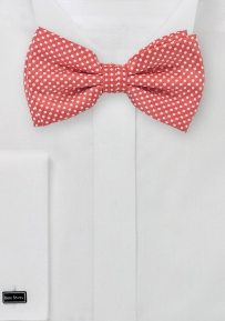 Coral Red Hued Men's Bow Tie