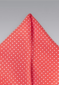 Coral and White Pin Dot Pocket Square