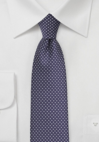Narrow Pin Dot Tie in Dark Amethyst Purple