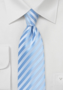 Capri Blue Summer Tie with Subtle Striped Design