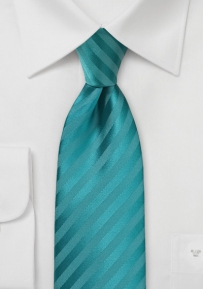 Single Color Striped Boys Length Tie in Oasis Blue