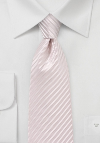 Festive Striped Necktie in Soft Blush Pink