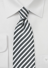 Striped Summer Necktie in Pewter