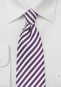 Striped Summer Necktie in Grape