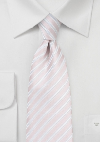 Striped XL Sized Necktie in Blush
