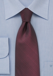 Summer Plaid Tie in Ruby Wine
