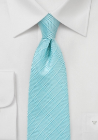 Pool Blue Tie with Plaid Design in XL Length