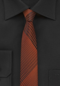 Skinny Designer Tie in Black and Copper