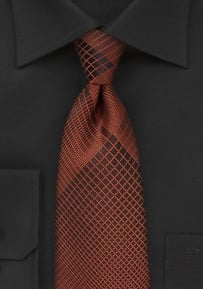 Designer Tie in Black with Bold Copper Plaid