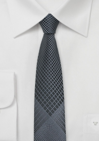 Grey and Black Patterned Tie