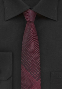 Black Skinny Tie with Rosewood Plaid Pattern