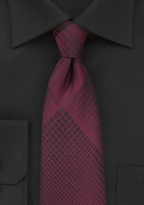Black Designer Tie with Rosewood Plaid Pattern