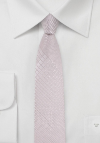 Geometric Plaid Blush Color Tie in Super Skinny Cut