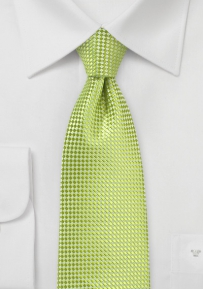 Woven Extra Long Tie in Bright Lime Green