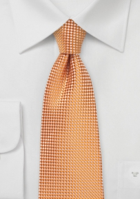 Micro Check Kids Tie in Tangerine