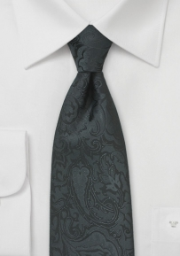 Floral Paisley Tie in Jet Black for Kids