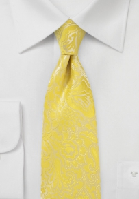 XL Length Floral Paisley Tie in Frosted Citrus