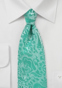 Mermaid Blue Floral Paisley Tie