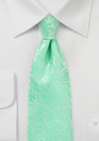 Extra Long Paisley Tie in Spring Bud Green