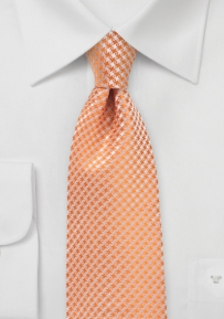Micro Check Kids Tie in Tangerine Orange