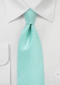 Micro Houndstooth Check Tie in Pool Blue