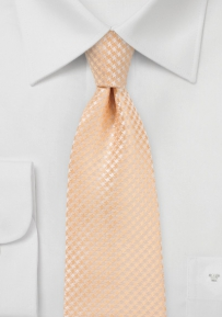 Micro Houndstooth Tie in Peach Fuzz for Tall Men