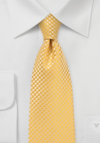 Micro Houndstooth Check Tie for Kids in Freesia Yellow