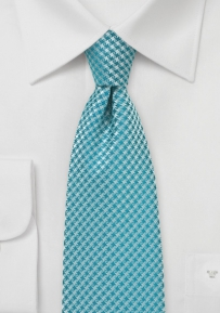 Micro Houndstooth Check Tie in Tile Blue