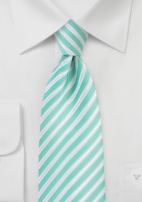 Summer Striped Necktie in Pool Blue