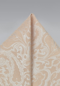 Champagne Pocket Square with Elegant Paisleys