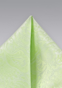Light Pistachio Green Paisley Pocket Square