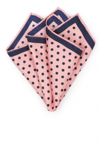 Pink and Dark Blue Polka Dotted Pocket Square
