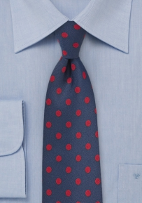 Classic Navy Necktie with Bright Red Polka Dots