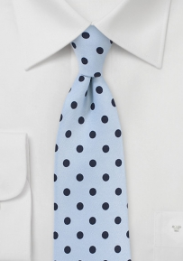 Sky Blue Necktie with Dark Blue Polka Dots