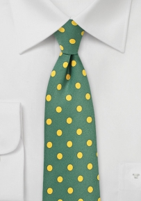 Ivy Green Tie with Lemon Yellow Polka Dots