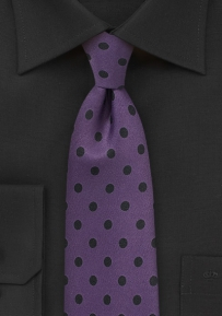 Grape Necktie with Black Polka Dots