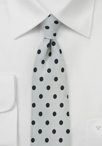 Elegant Silver Tie with Jet Black Polka Dots