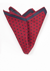 Cherry Red and Navy Dot Print Pocket Square