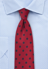 Deep Red Mens Tie with Navy Polka Dots